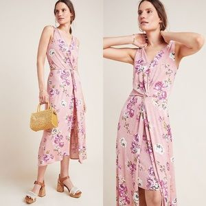 Anthro Bailey 44 Twist Knot Rose Knit Midi Dress